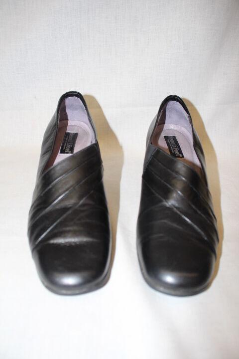 BEAUTIFEEL Black Black Black Leather Fan Pumps,Anti Slip Sole Womens Size US10 42 Israel-B13 032053