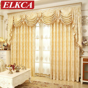 Details about European Elegant Golden Royal Luxury Curtains for Bedroom  Window Living Room