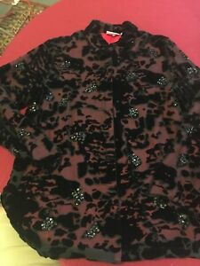 e439f86f4 Chicos Design Size 1 Velvet Silk Tunic Top Black floral sequin ...