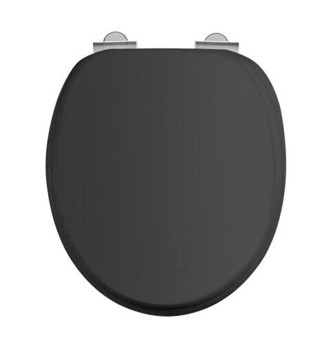 S48 Burlington Matt Black Soft Close Toilet Seat Chrome Hinges