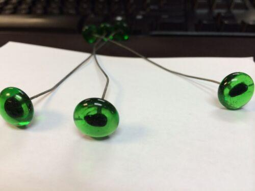12 Pair glass cat eyes 14mm green