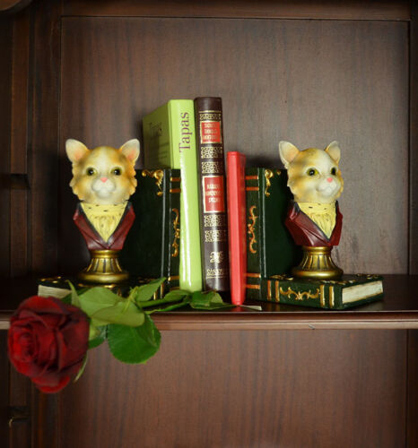 Buchstützen Buchstütze Buchständer 2 Bunt 2stück Neu Vinatge Antik Barock Katzen