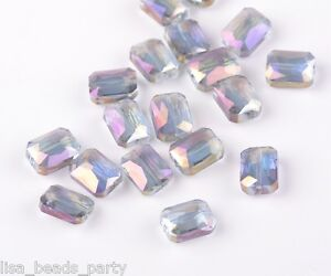 10pcs-12mm-Rectangle-Square-Faceted-Majhong-Crystal-Glass-Loose-Beads-Purple