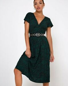 MOTEL-ROCKS-Nira-Midi-Dress-in-90-039-s-Zebra-Forest-Green-Belt-not-incl-MR41