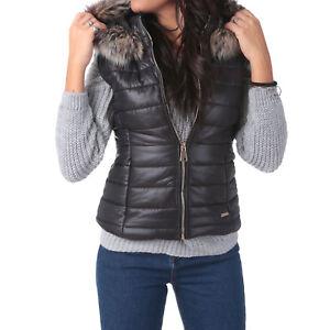 Piumino-giacca-gilet-smanicato-trapuntato-giaccone-cappuccio-eco-pelliccia-80934