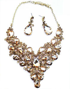 Choker-Necklace-Earring-Set-Pageant-Bridal-Prom-Drag-Topaz-Rhinestone-Crystal