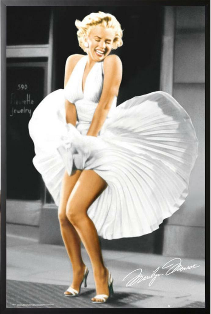 Marilyn Monroe Poster Iconoic Blowing Dress in Black Wood Frame ...