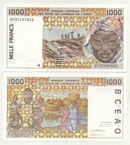 1997 P.111Ag IVORY COAST 1000 FRANCS UNC WEST AFRICAN STATES