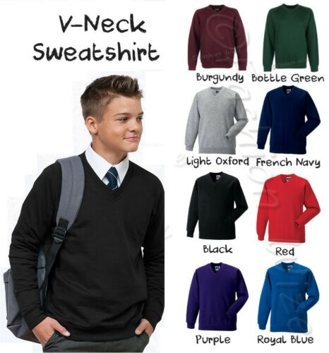 Boys School Jumper V-Neck Sweater Fleece Sweatshirt School Uniform Ages 3-13
