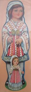 Antique-Brand-Pages-Bookmark-Advertising-Cut-out-Woman-and-Girl-Romanian