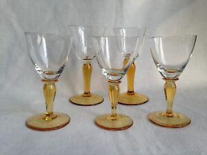 Vintage-matching-Set-x-5-Amber-Colour-stem-Sherry-Liqueur-Port-Glasses-circa-50s