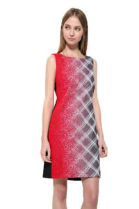 Image Is Loading Desigual Grey Check Red Paint Irania Shift Dress