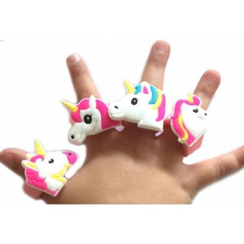 Unicorn Soft Silicone Finger Ring Party Bag Fillers Favors Kids Job Lot