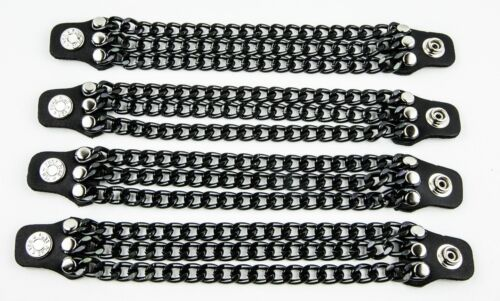 3 row Black Chain Extension Black Leather Biker Vest Extender 4 Pcs Lot