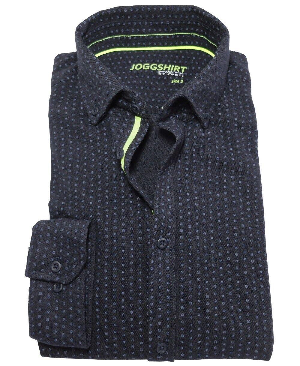 Venti JOGGSHIRT Slim Fit Langarmhemd in dunkelblau Minidessin Gr. L bis XXL     | Neuer Stil