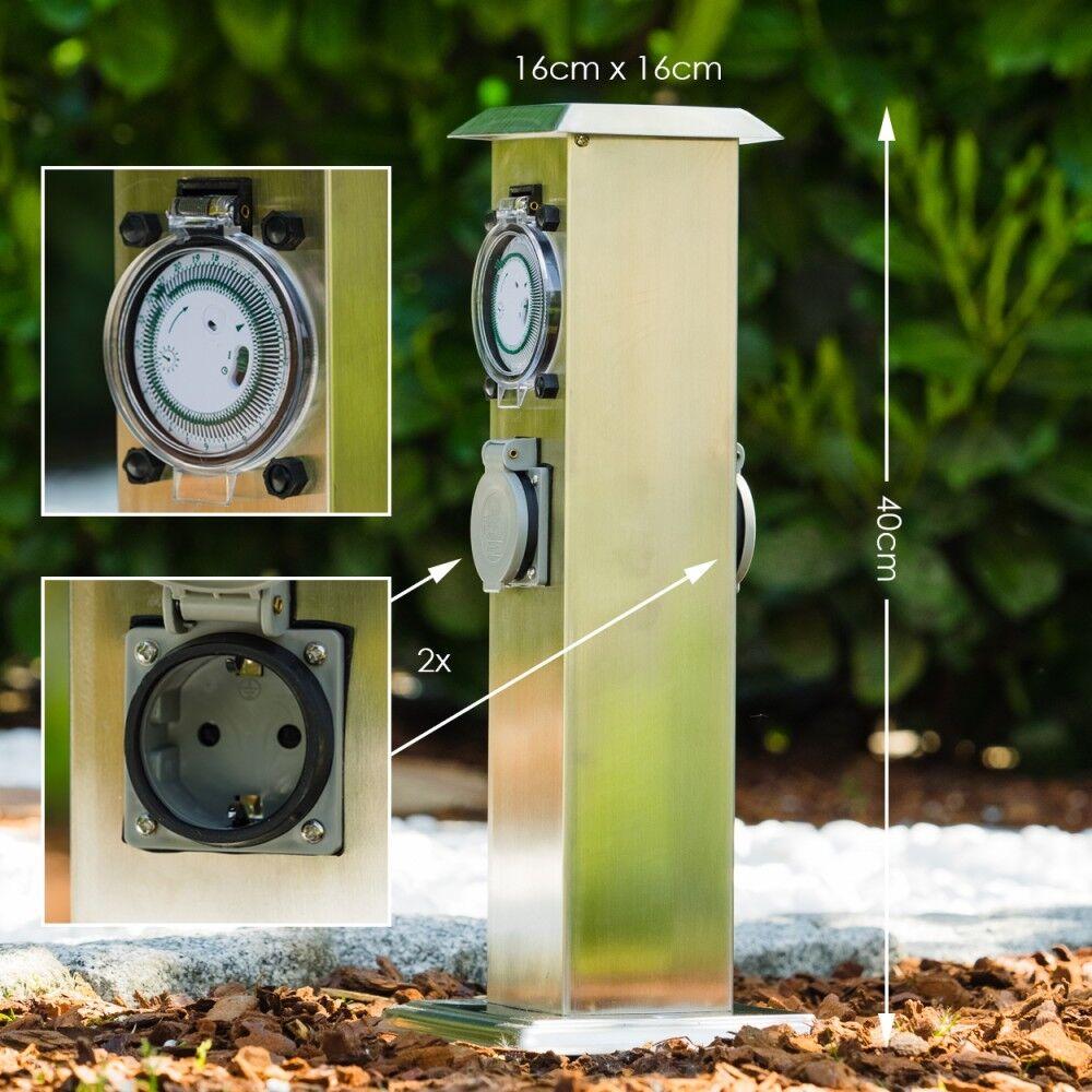 In acciaio inox di distribuzione presa Esterno Prese Giardino pilastro Alarm Clock 2 volte