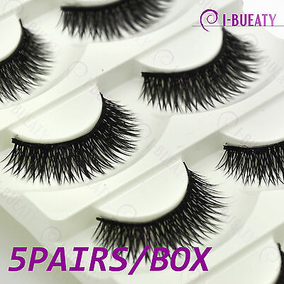 5 Pairs Extra Long Thick Cross Natural False Eyelashes Handmade Fake Eye Lashes