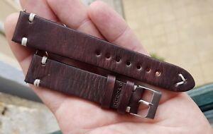Bracelet Cuir VÉritable Militaire Plongee *20 Mm* Pour Montre Ancienne Chrono E