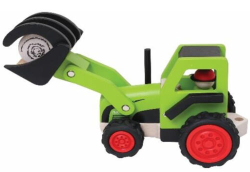 aus Holz Traktor mit Frontlader /Ladegabel grün njoykids 14102