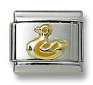 Authentic18k-Gold-Italian-Charm-Yellow-Enamel-Duck-9mm-Modular-Link-Bracelet