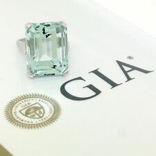 Large 14K White Gold GIA Certified 22.94ct Aquamarine Solitaire Cocktail Ring