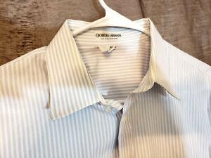 Giorgio-Armani-Le-Collezioni-Men-L-slv-Dress-Shirt-16-5-White-bluestripe-cotton