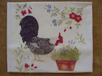 Alice's Cottage Flour Sack Towel - Rooster With Potted Herbs, Flowers