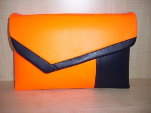 fabriquée orange cuir Uni Pochette Royaume surdimensionnée et bleu marine vif simili en au TAqwOxqga