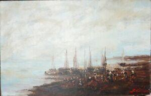 tableau HST - marine - Le retour des pécheurs  signé Le Guilloux