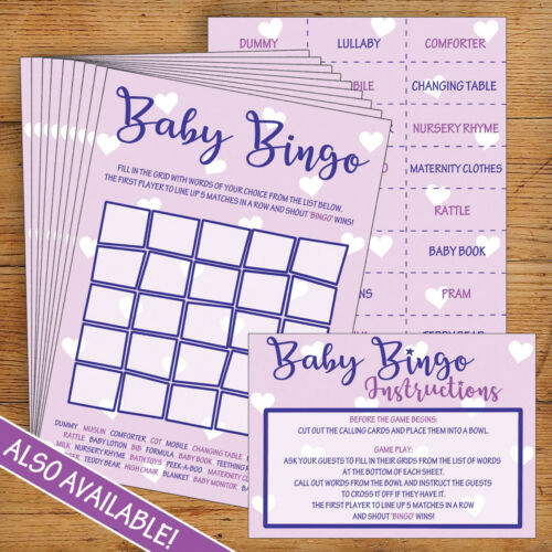 Purple Party Games Prize 10 Pack Baby Shower Certificates