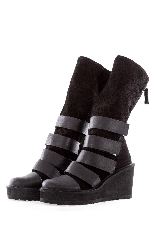 PURO Damen Damen Damen Leder Stiefel CROSSOVER schwarz  530,00 969877