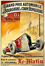 Art Ad Grand Prix Automobile   Dijon  1929 Auto Car Race  Deco  Poster Print