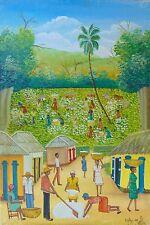 "Haitian Painting by Master Eddy Myrthil 24""X16"" Oil Canvas Haiti Art Landscape"