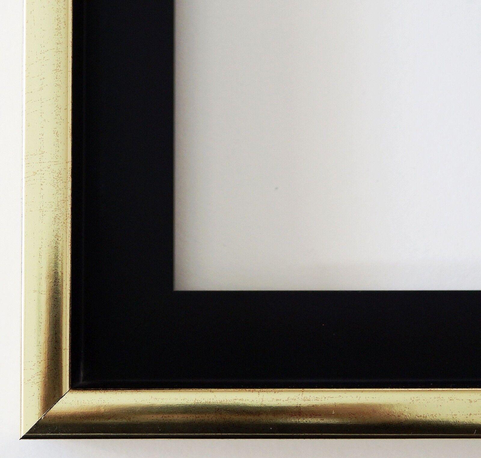Urkundenrahmen Schattenfugenrahmen Schwarz Gold Modern Ferrara 41,0 alle Größen