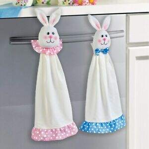 Set of 2 Charming Plush Easter Bunny Kitchen Hand Towels
