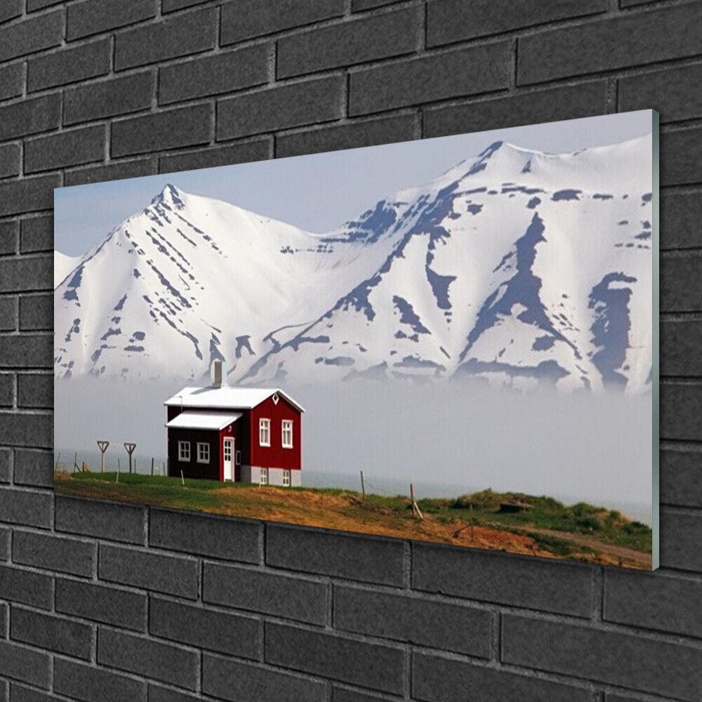 Tableau sur verre Image Impression 100x50 Paysage Maison Montagne
