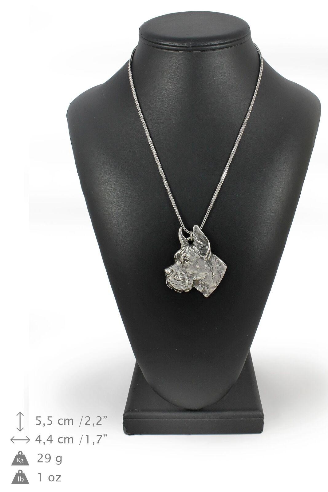 Alano tedesco - collana con un cane su una catena d'silver Art Dog IT