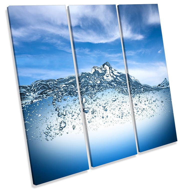 Bathroom Blau Water CANVAS WALL ART TREBLE Square Print Picture