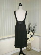 18 DEFINITIONS 40'S STYLE BLACK BACKLESS DRESS FINE PLEAT + BELT PARTY SALE