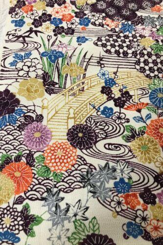 @@100 cm x35 cm   Japanese vintage kimono silk fabric//smooth crepe// cream L37
