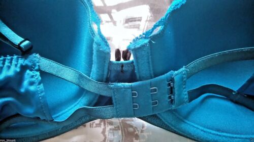 Topshop Blue Underwired Blue Lace Satin Plunge Padded Bra 32-36 A-D