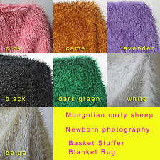 Curly sheep fur newborn photography props Basket Stuffer Blanket Rug 100x75cm