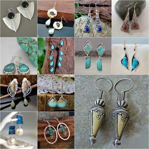 Woman-Moonstone-Turquoise-925-Silver-Ear-Hook-Stud-Dangle-Drop-Earrings-Jewelry