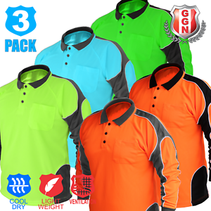 3x-HI-VIS-POLO-SHIRT-PANEL-WITH-PIPING-FLUORO-WORK-WEAR-COOL-DRY-LONG-SLEEVE