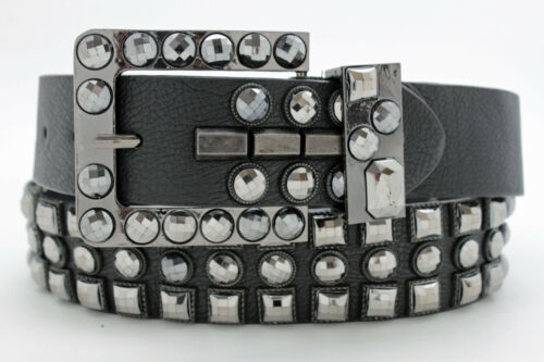 Western Women Fashion Black Belt Pewter Metal Studs Square Buckle Beads S M L XL