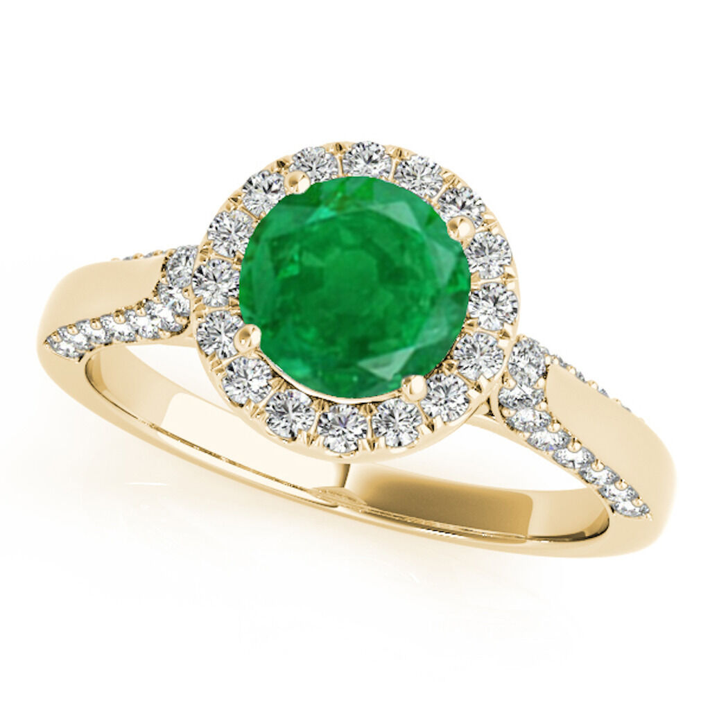 1.35 Ct. Halo Emerald And Diamond Engagement Ring Crafted In 14k Solid gold
