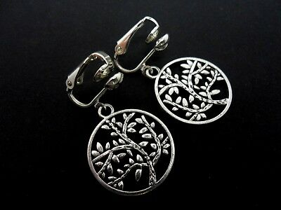 A PAIR OF TIBETAN SILVER TREE OF LIFE THEMED BLUE CRYSTAL CLIP ON EARRINGS NEW.
