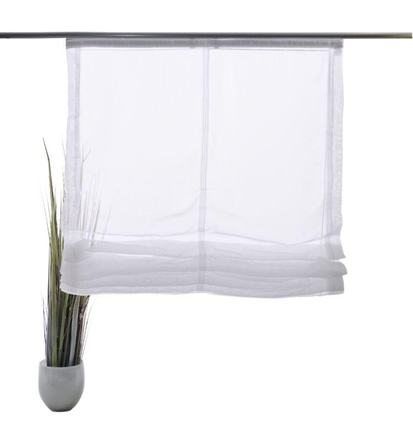 Voile Raffrollo Dekoration Bettina uni weiss transparent transparent transparent   4 Größen | Zart  0943a0