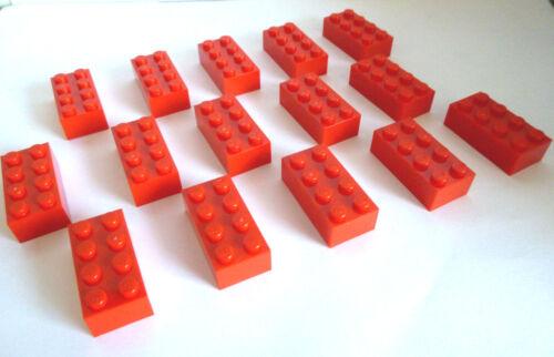 15 x LEGO® 3001 Basissteine,City,System Bausteine in 2x4 Noppen rot Neuware