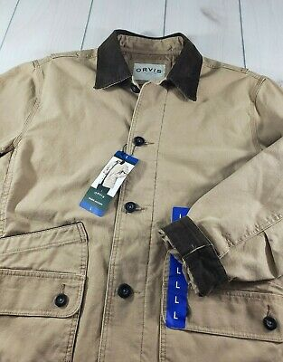 Size: M Beige Saddle Tan Men's Orvis Barn Field Quilted Lined Jacket Coat
